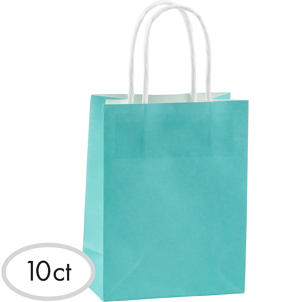 Medium Robin's Egg Blue Kraft Bags 10ct Image #1