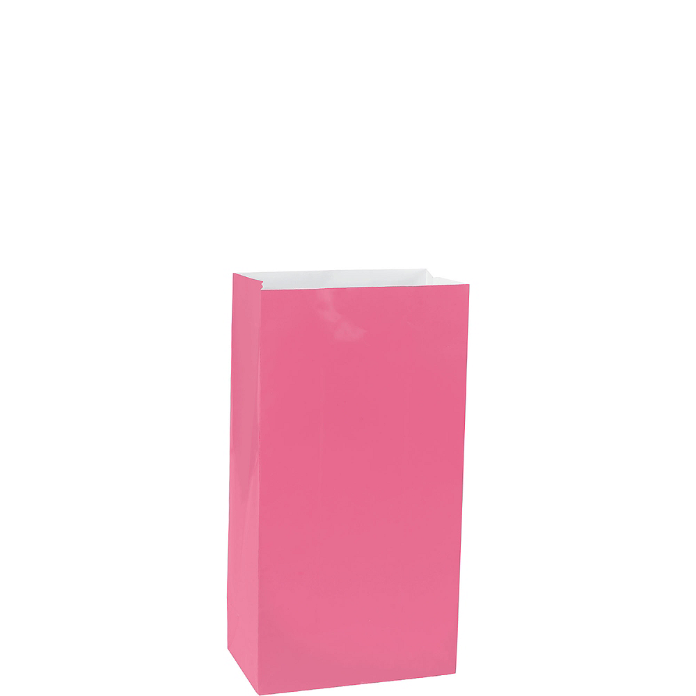 Mini Bright Pink Paper Treat Bags 12ct Image #1