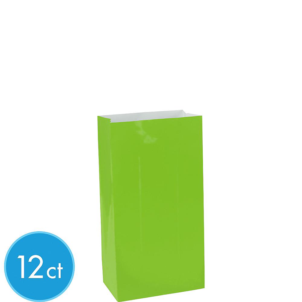 Mini Kiwi Green Paper Treat Bags 12ct Image #1