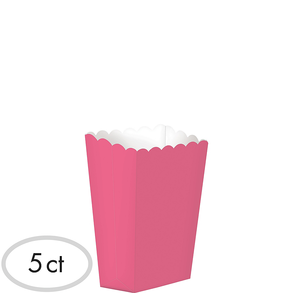 Mini Bright Pink Popcorn Treat Boxes 5ct Image #1