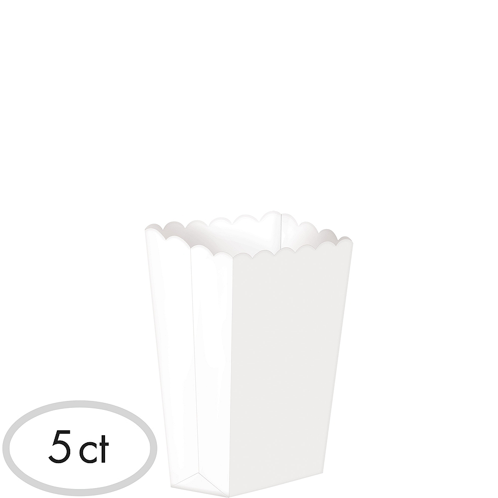 Mini White Popcorn Treat Boxes 5ct Image #1