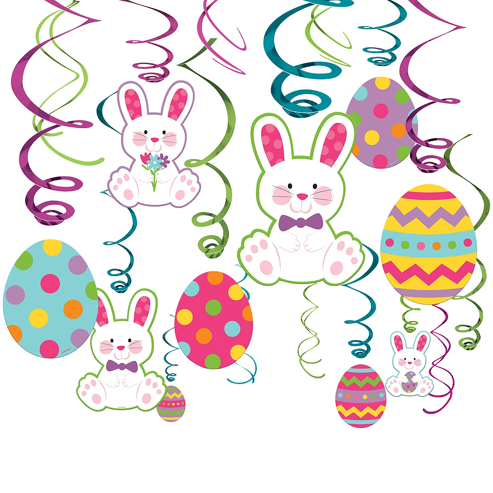 Easter Bunny Swirl Decorations 30ct Image #1