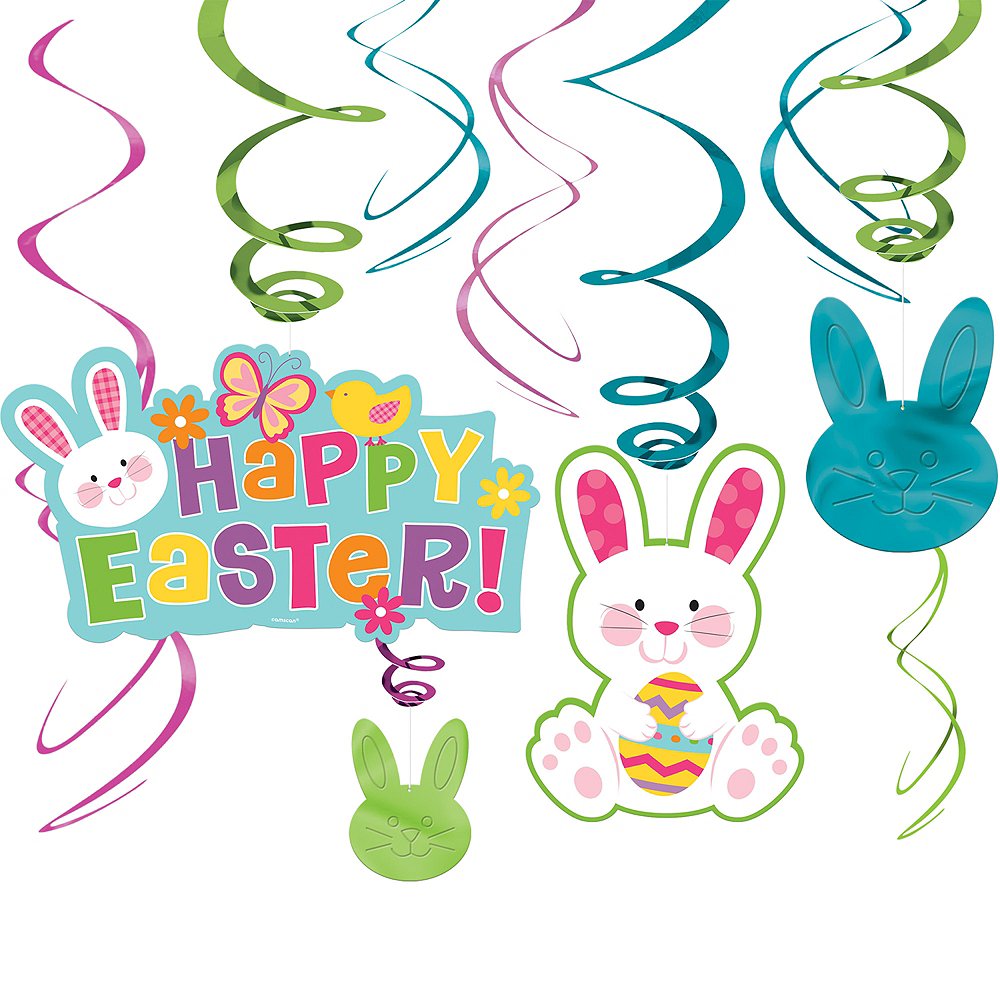 Easter Bunny Swirl Decorations 12ct Image #1