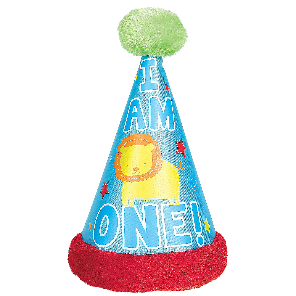 Wild At One Boys 1st Birthday Deluxe Party Hat
