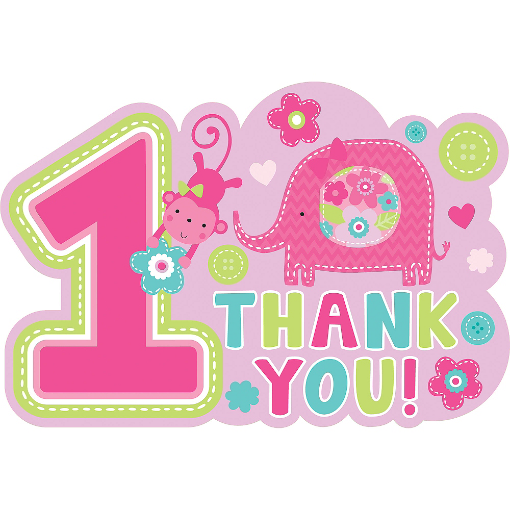 Wild at One Girl's 1st Birthday Thank You Notes 8ct Image #1