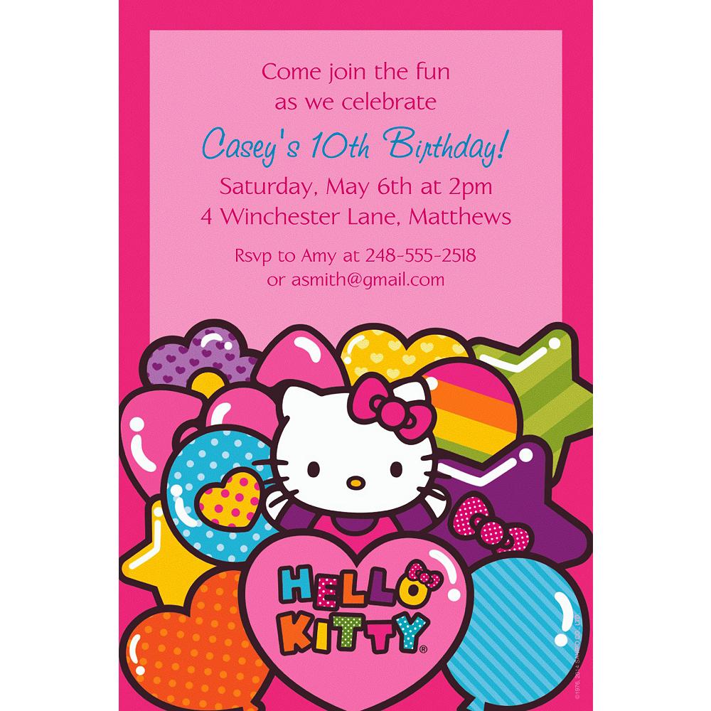 Custom Hello Kitty Rainbow Invitations Party City