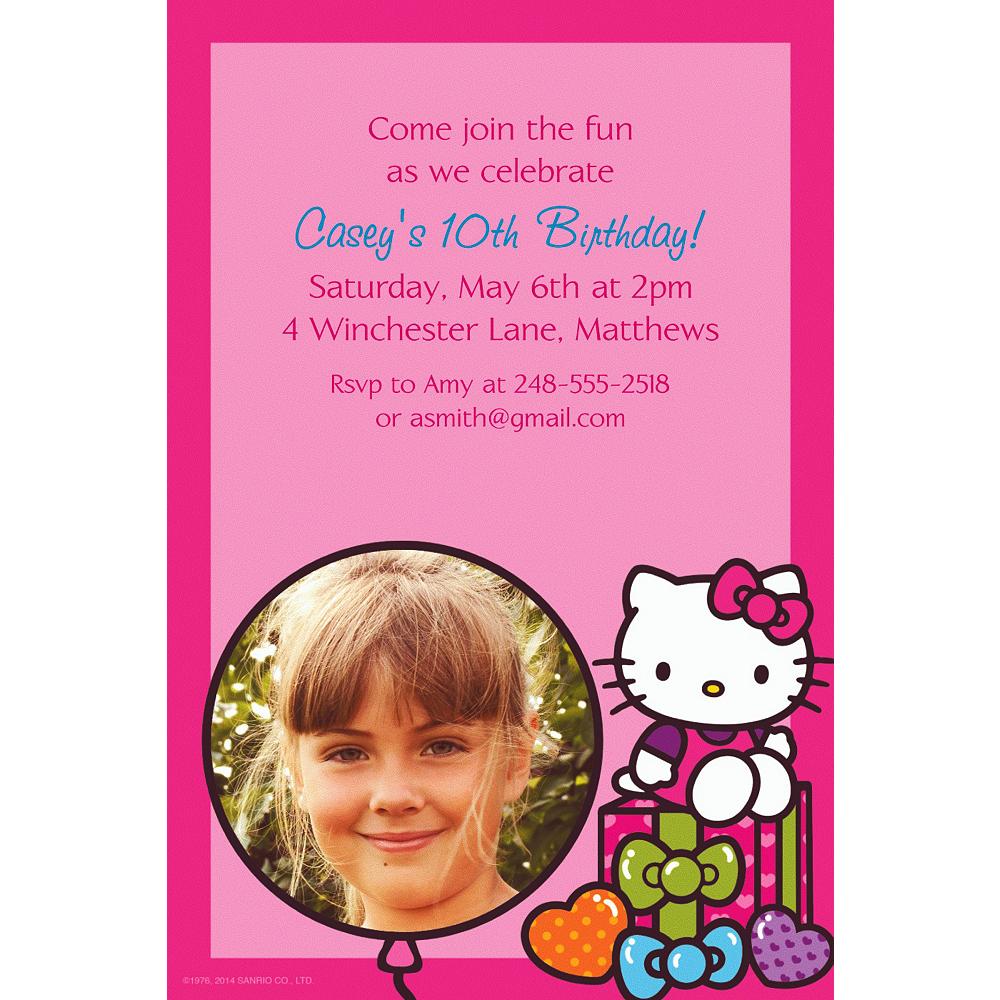 Custom Hello Kitty Rainbow Photo Invitations Image #1