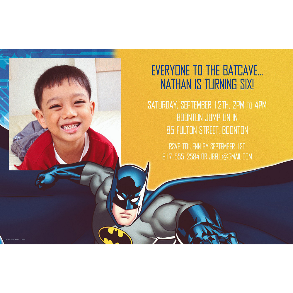 Custom Batman Photo Invitations Image 1