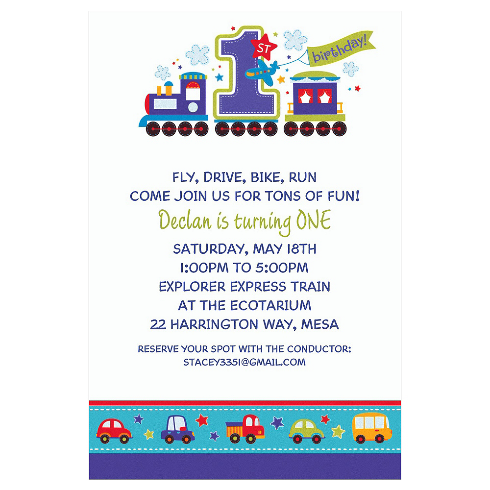 Custom All Aboard Birthday Invitations Image #1