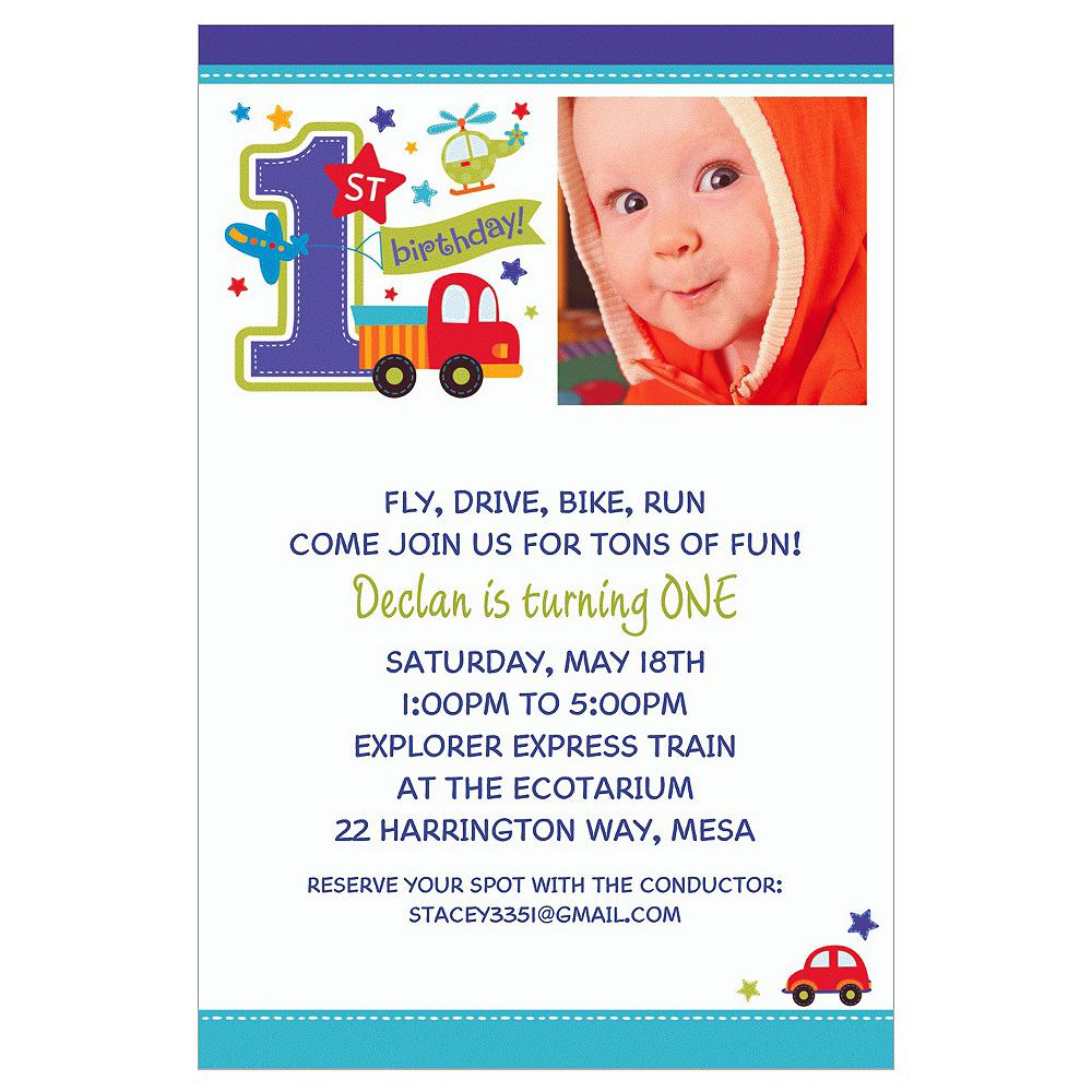 Custom All Aboard Birthday Photo Invitations Image #1