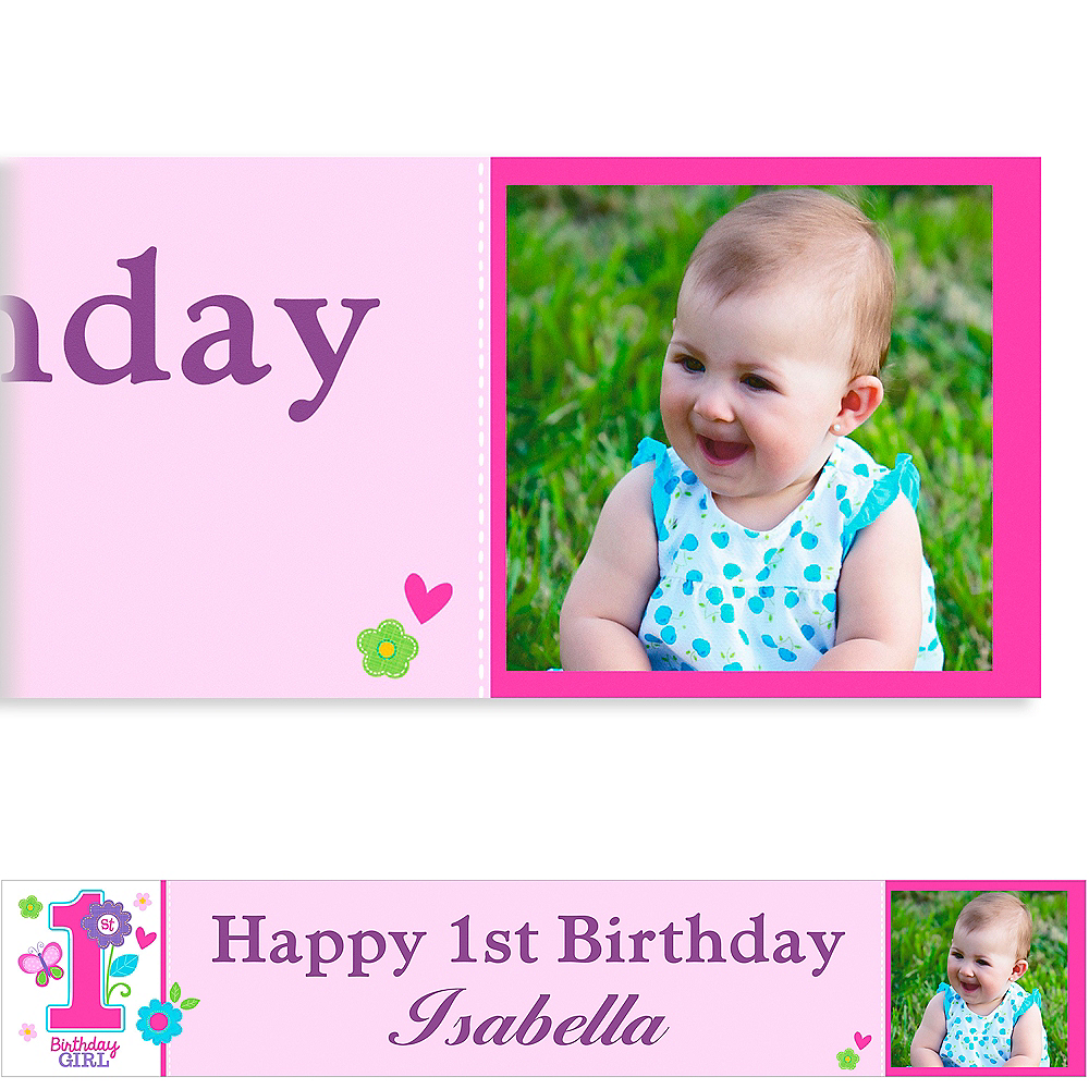 Custom Sweet Birthday Girl Photo Banner 6ft Image #1