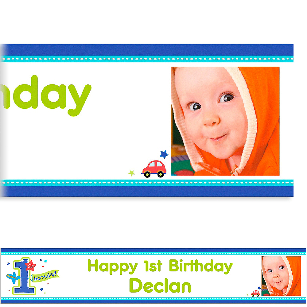 Custom All Aboard Birthday Photo Banner 6ft Image #1