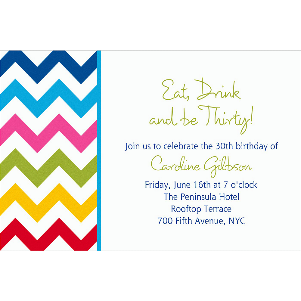 Custom Bright Rainbow Chevron Invitations Image #1