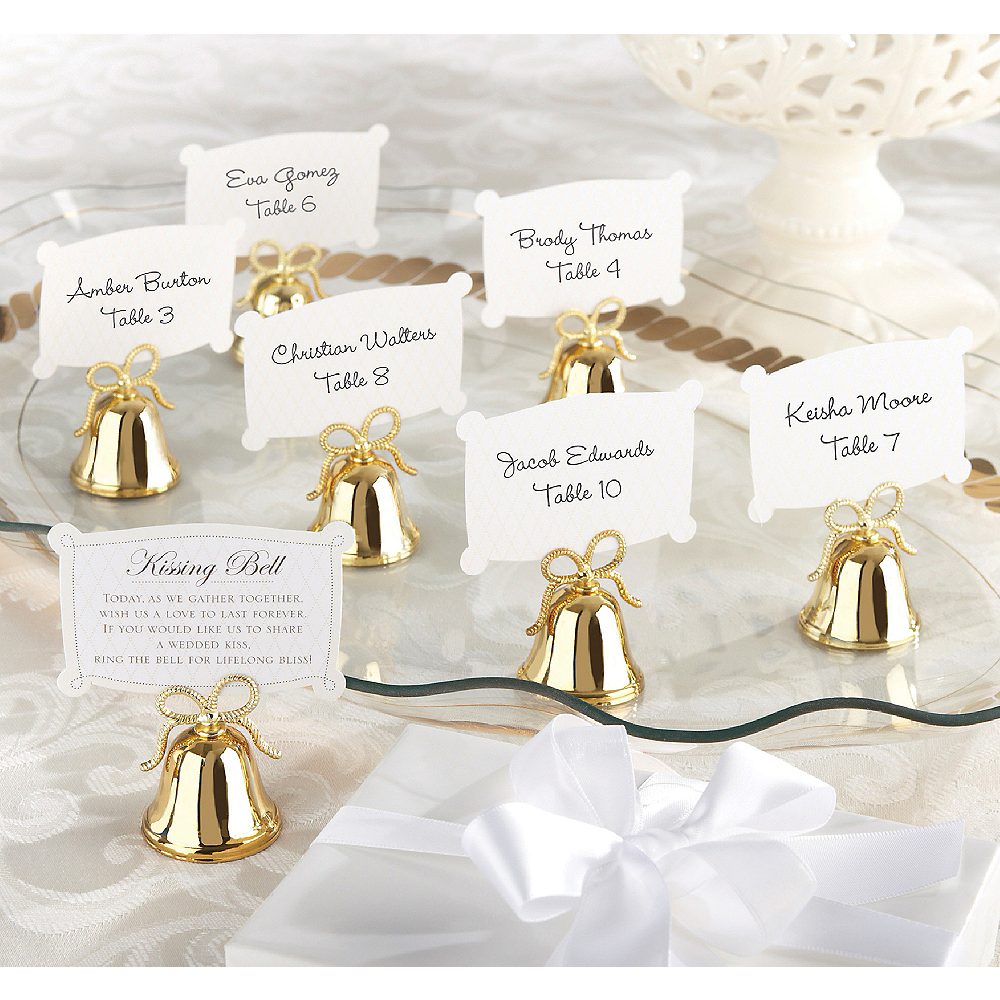 Gold Bow Kissing Bell Place Card Holders Image #1