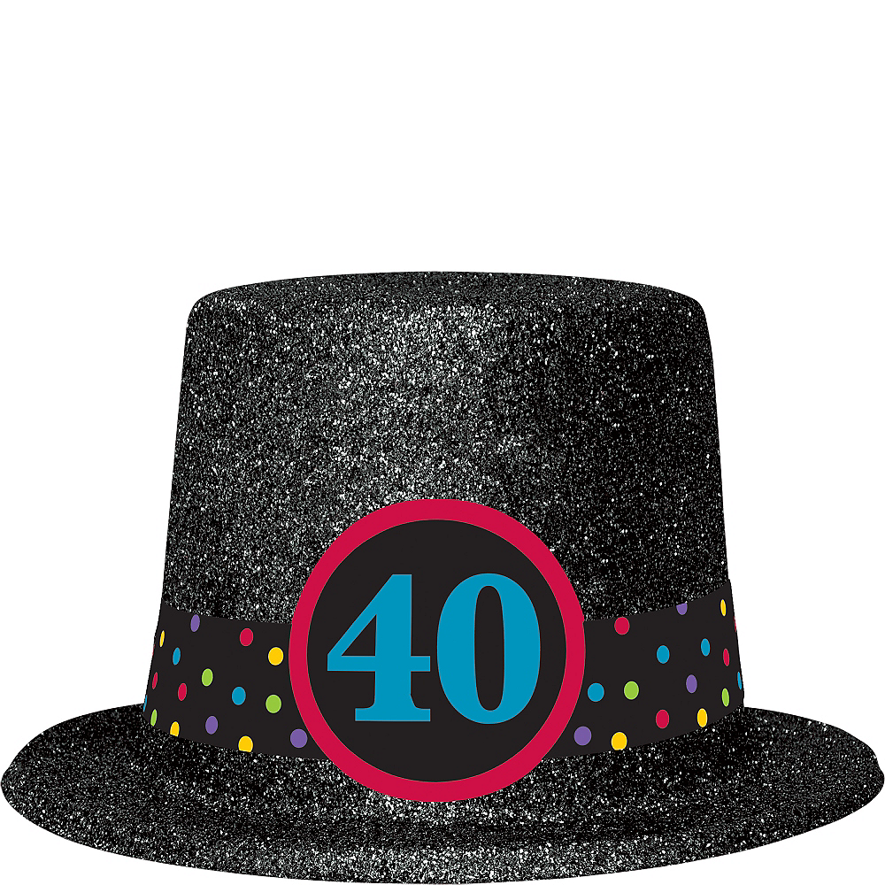 Glitter 40th Birthday Top Hat Image 1