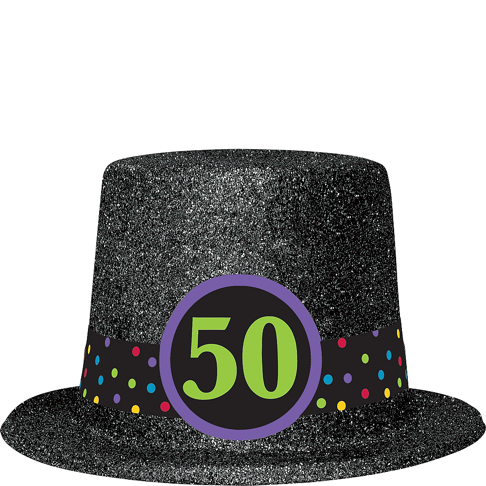 Glitter 50th Birthday Top Hat Image 1