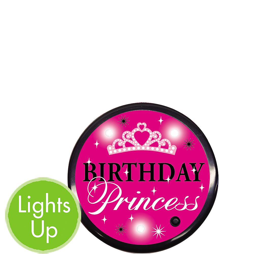 Light-Up Birthday Princess Button Image #1