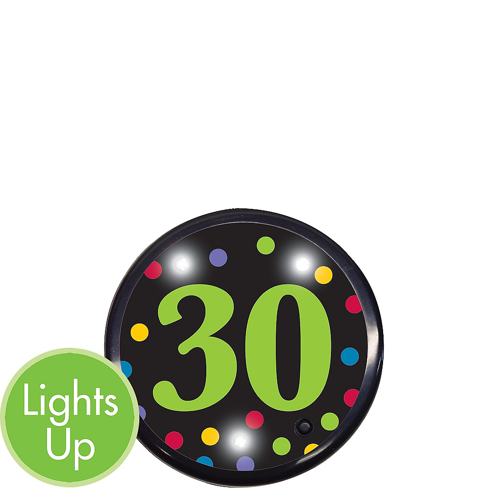 Light-Up 30th Birthday Button Image #1