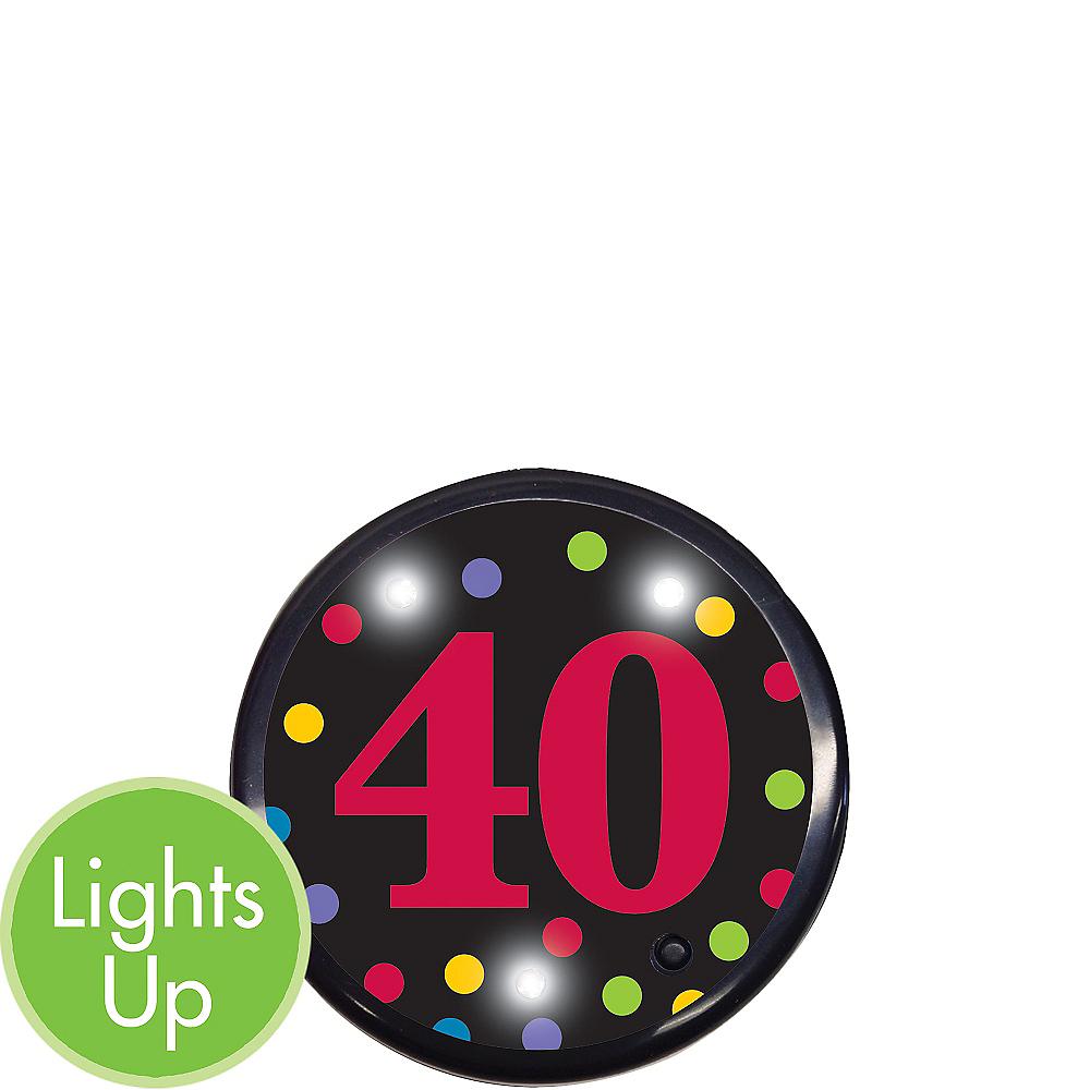 Light-Up 40th Birthday Button Image #2