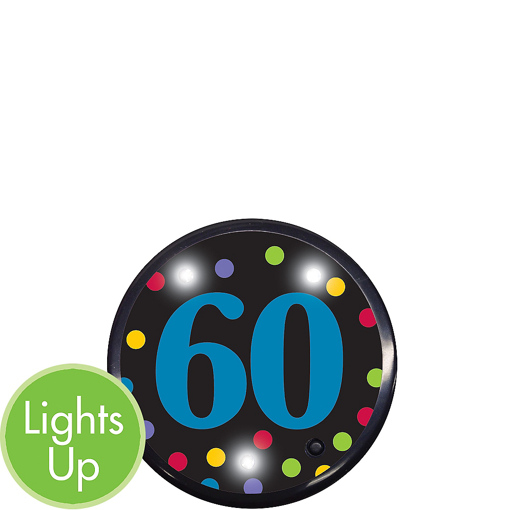 Light-Up 60th Birthday Button Image #1