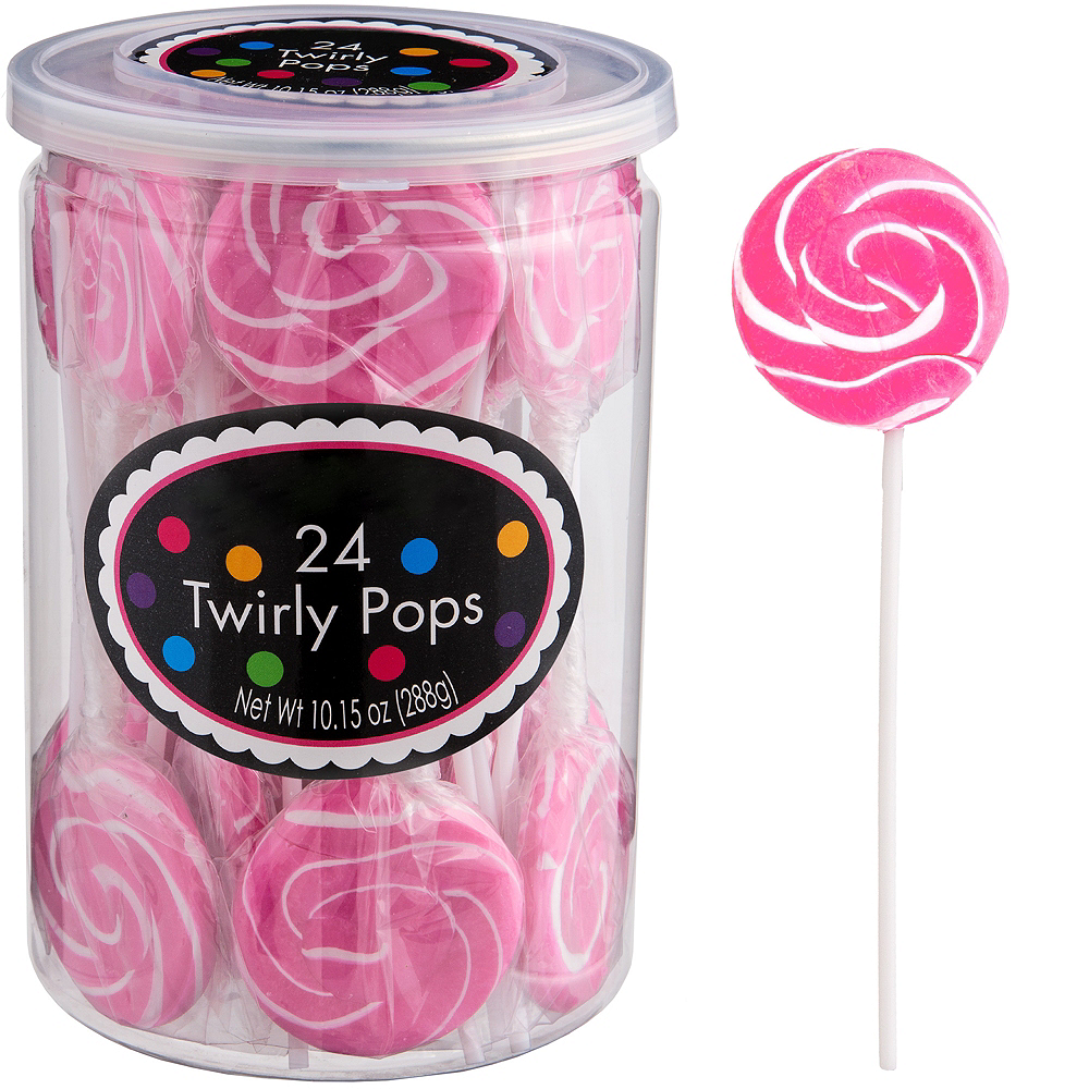 Bright Pink Swirly Lollipops 24pc Image #1
