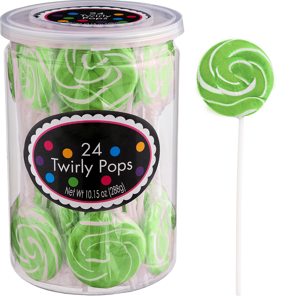 Kiwi Green Swirly Lollipops 24pc Image #1