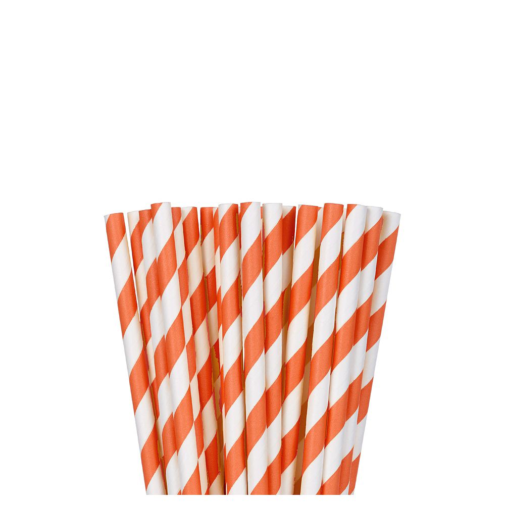 Nav Item for Orange Striped Paper Straws 24ct Image #1