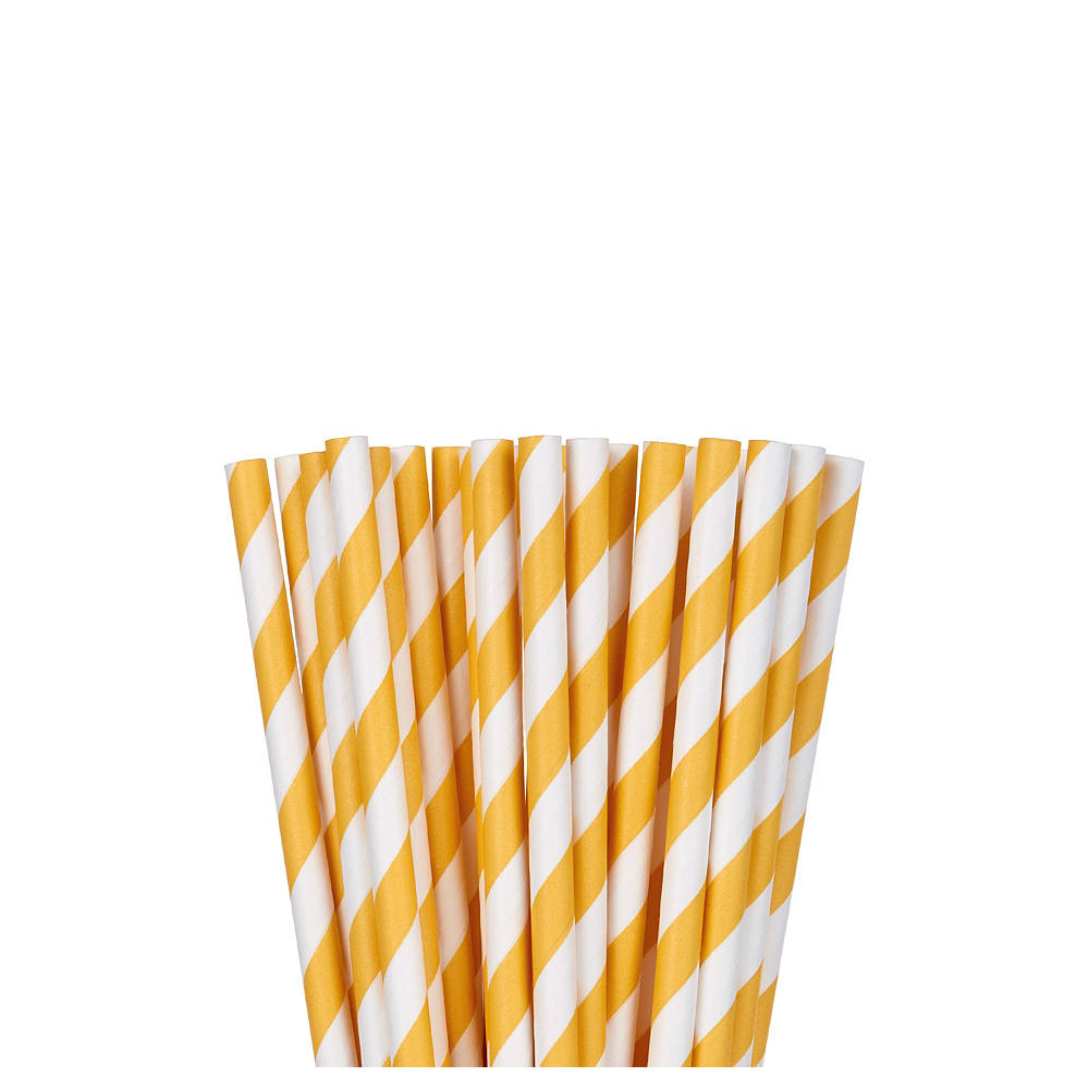 Nav Item for Sunshine Yellow Striped Paper Straws 24ct Image #1