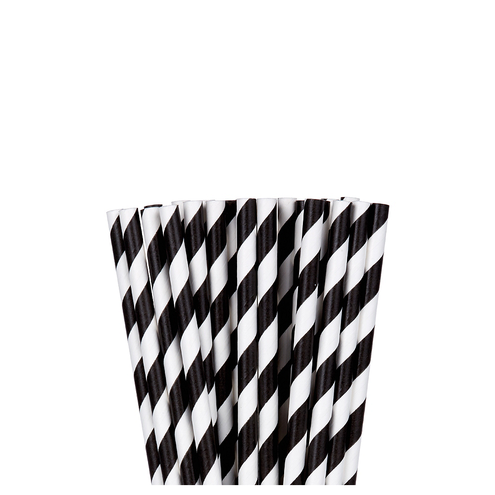 Black Striped Paper Straws 24ct Image #1