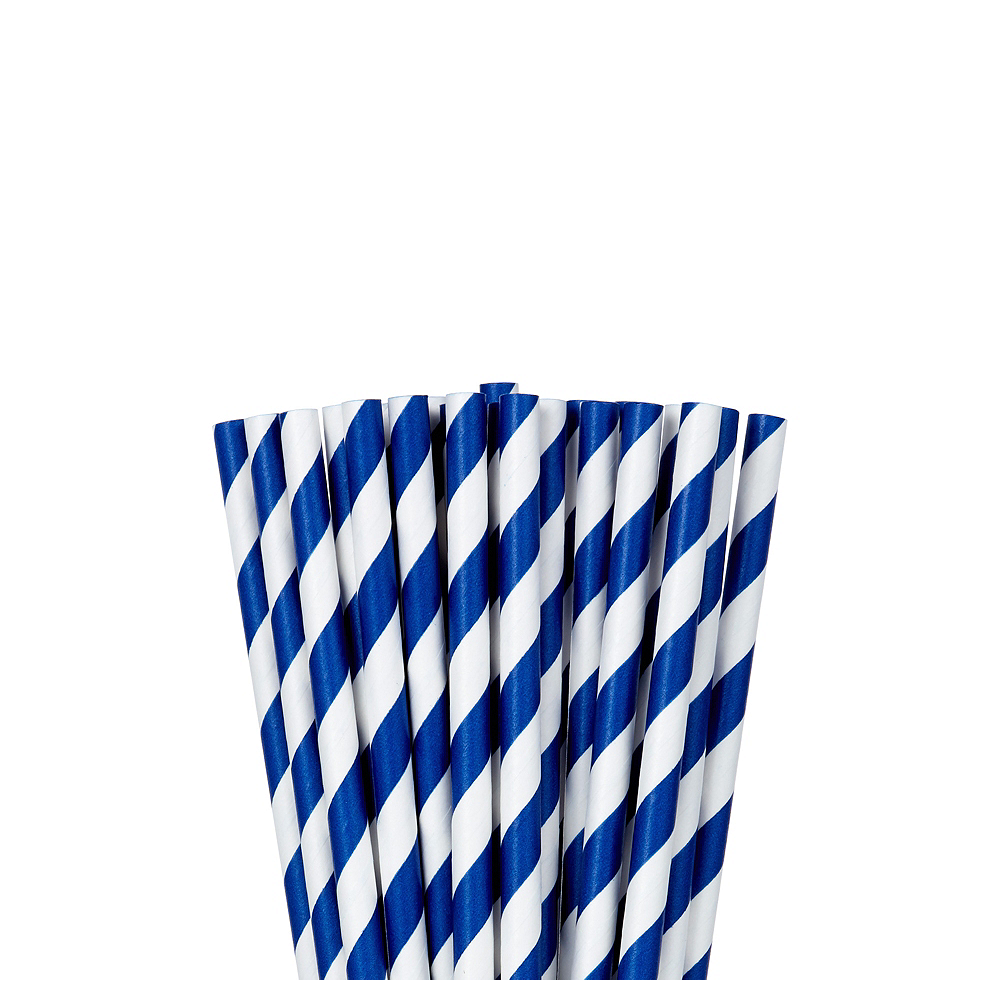 Nav Item for Royal Blue Striped Paper Straws 24ct Image #1