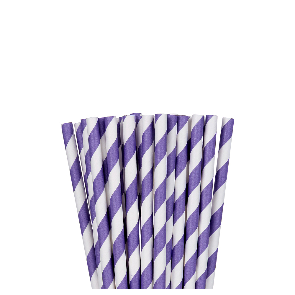 Nav Item for Purple Striped Paper Straws 24ct Image #1
