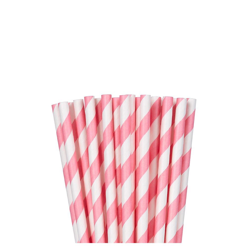 Pink Striped Paper Straws 24ct Image #1