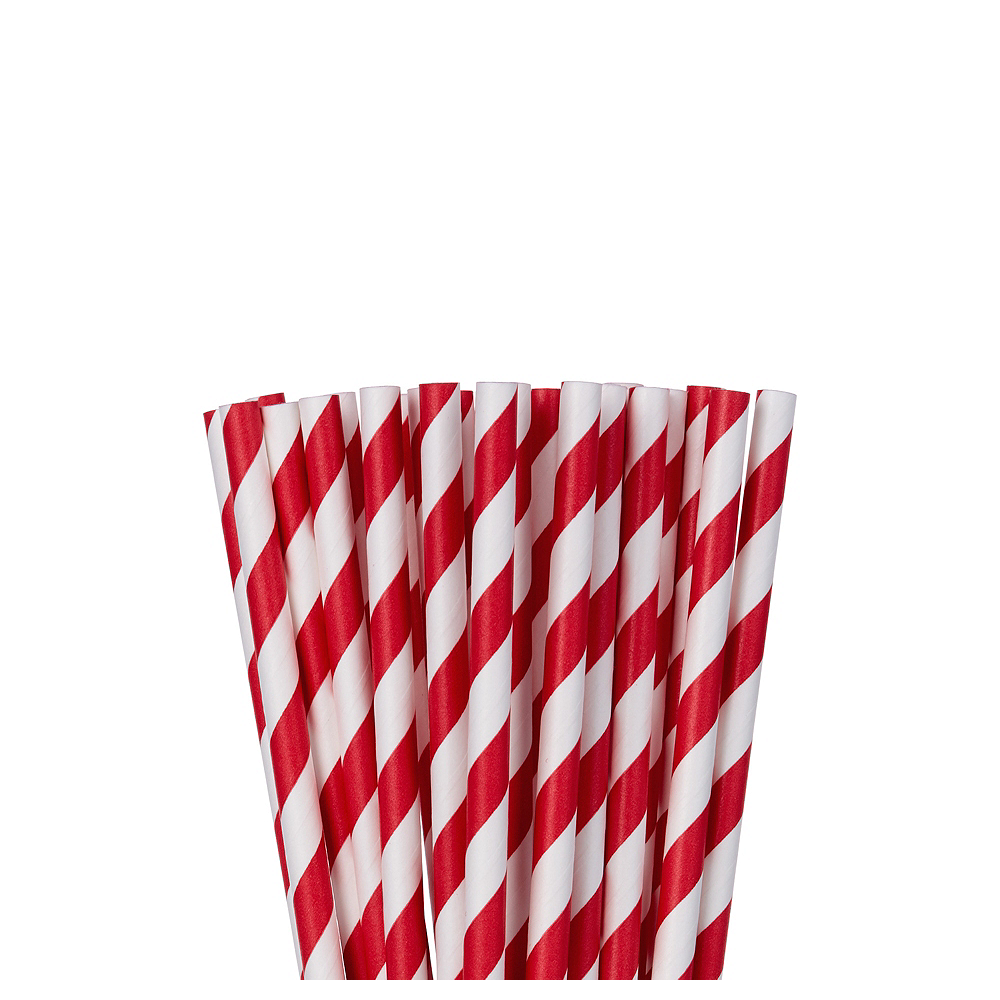 Red Striped Paper Straws 24ct Image #1