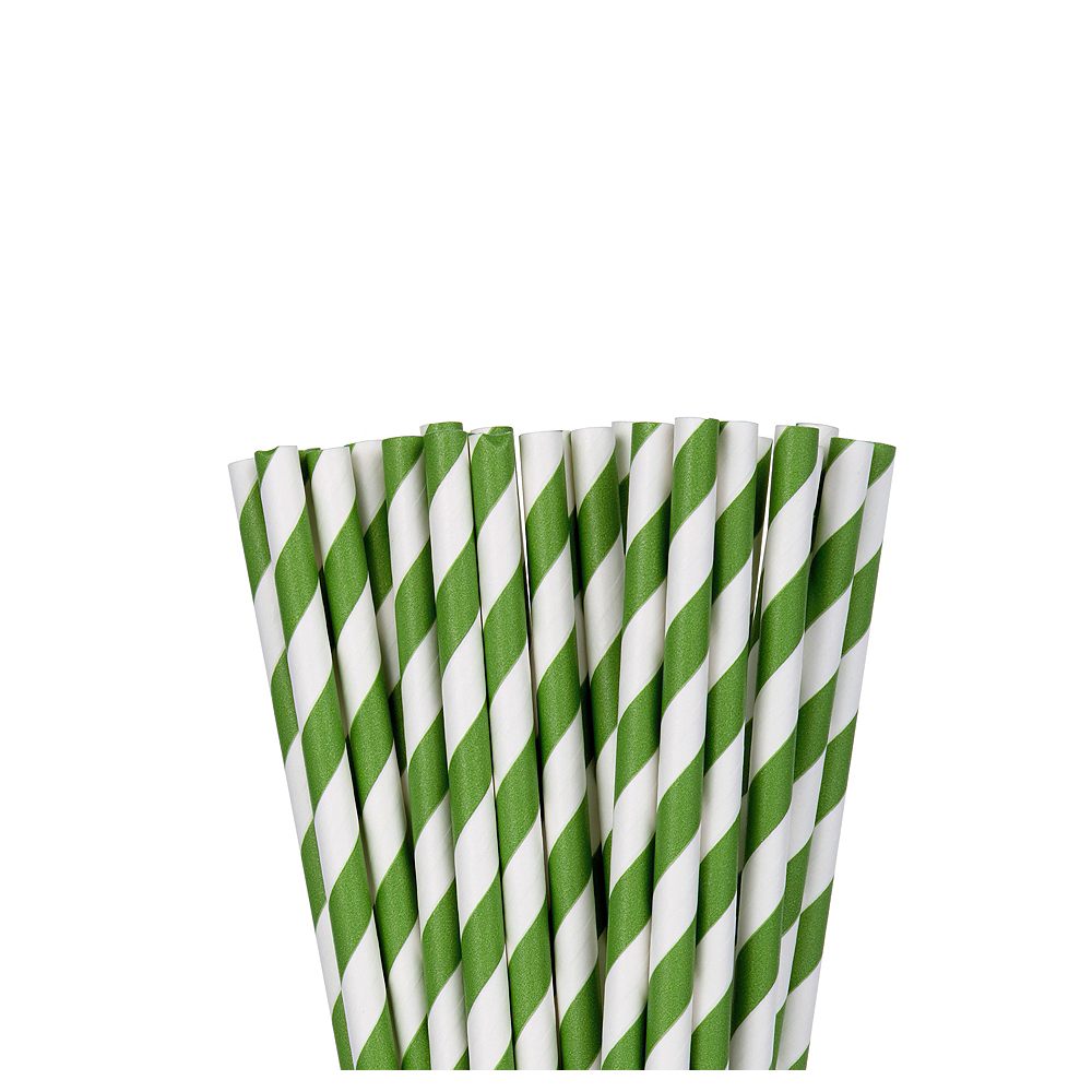 Kiwi Green Striped Paper Straws 24ct Image #1