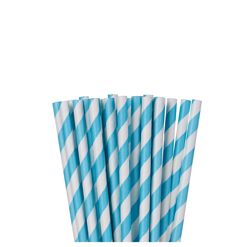 Caribbean Blue Striped Paper Straws 24ct Image #1