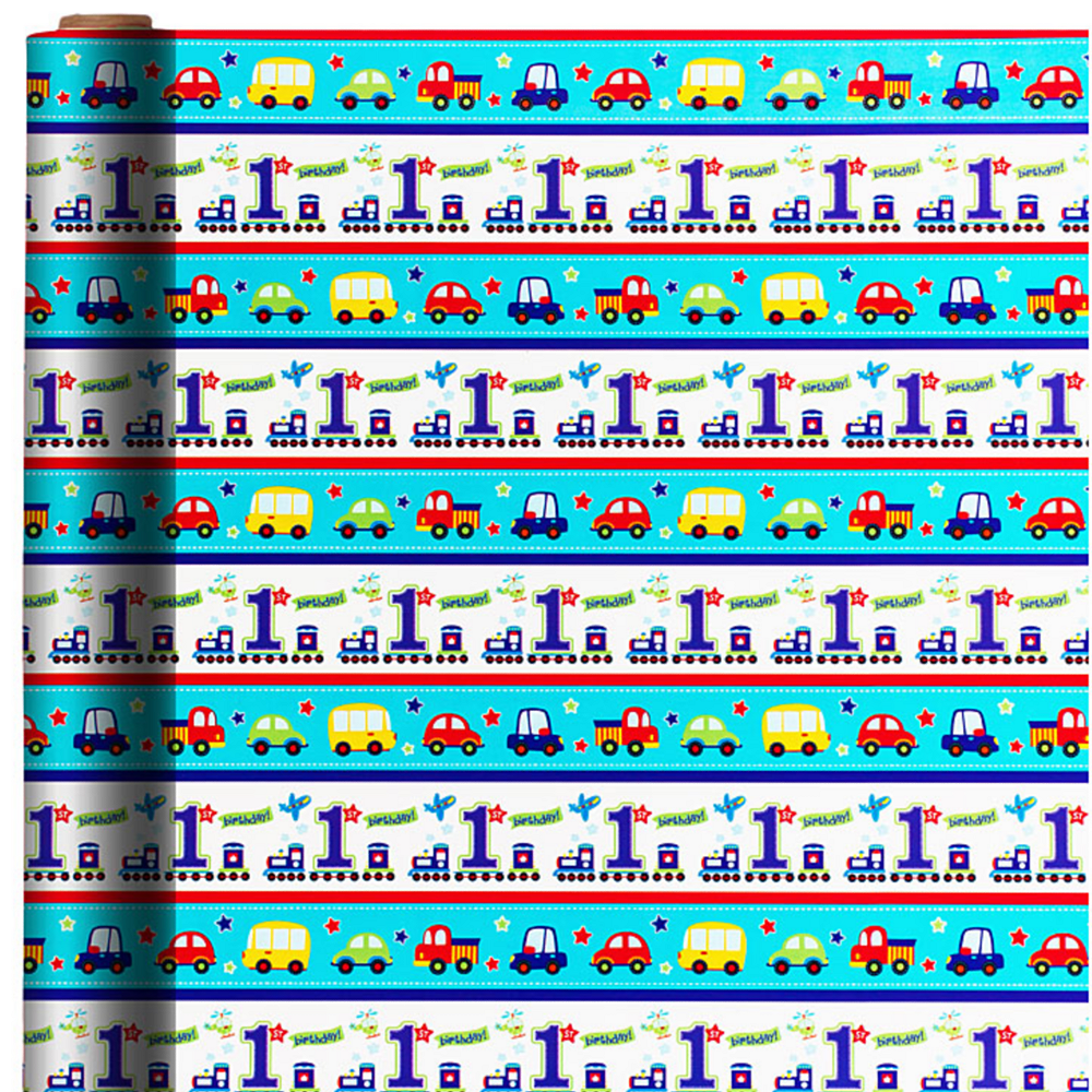 All Aboard 1st Birthday Gift Wrap Image 1
