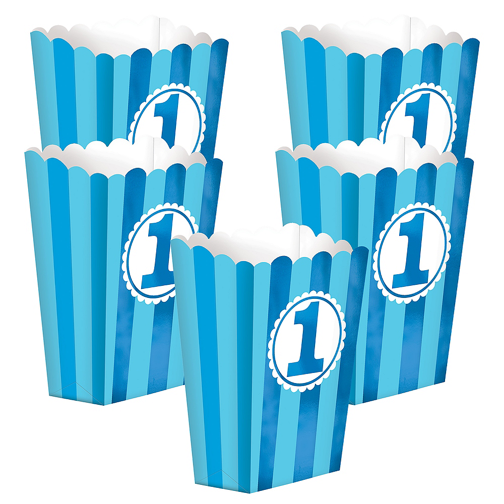 Blue Striped 1st Birthday Popcorn Boxes 5ct Image #1