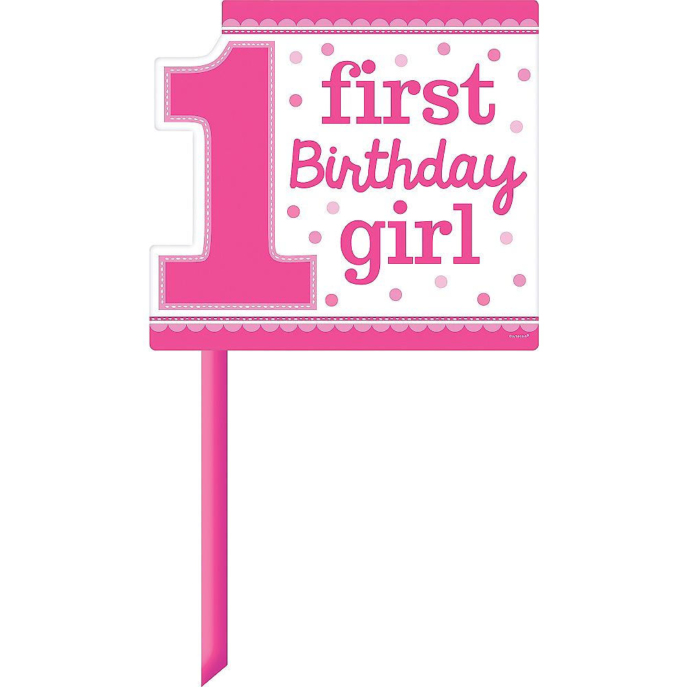 Pink Girl 1st Birthday Yard Sign Image #1