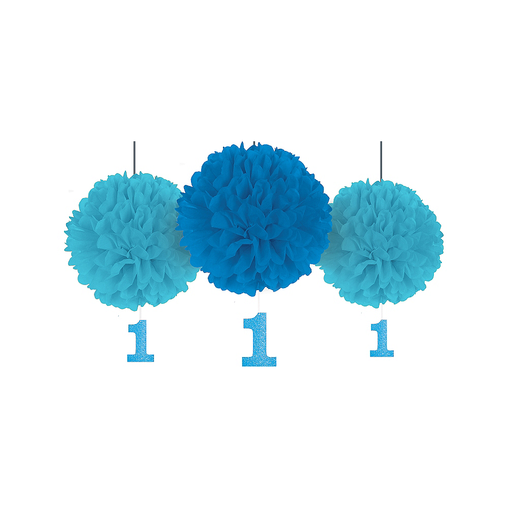 Blue 1st Birthday Tissue Pom Poms with Glitter Cutouts 3ct Image #1