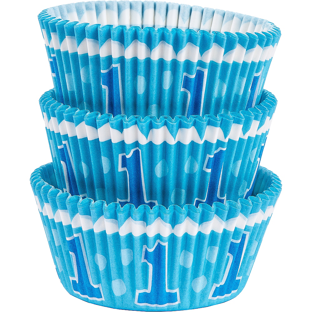 Blue 1st Birthday Baking Cups 75ct Image #1