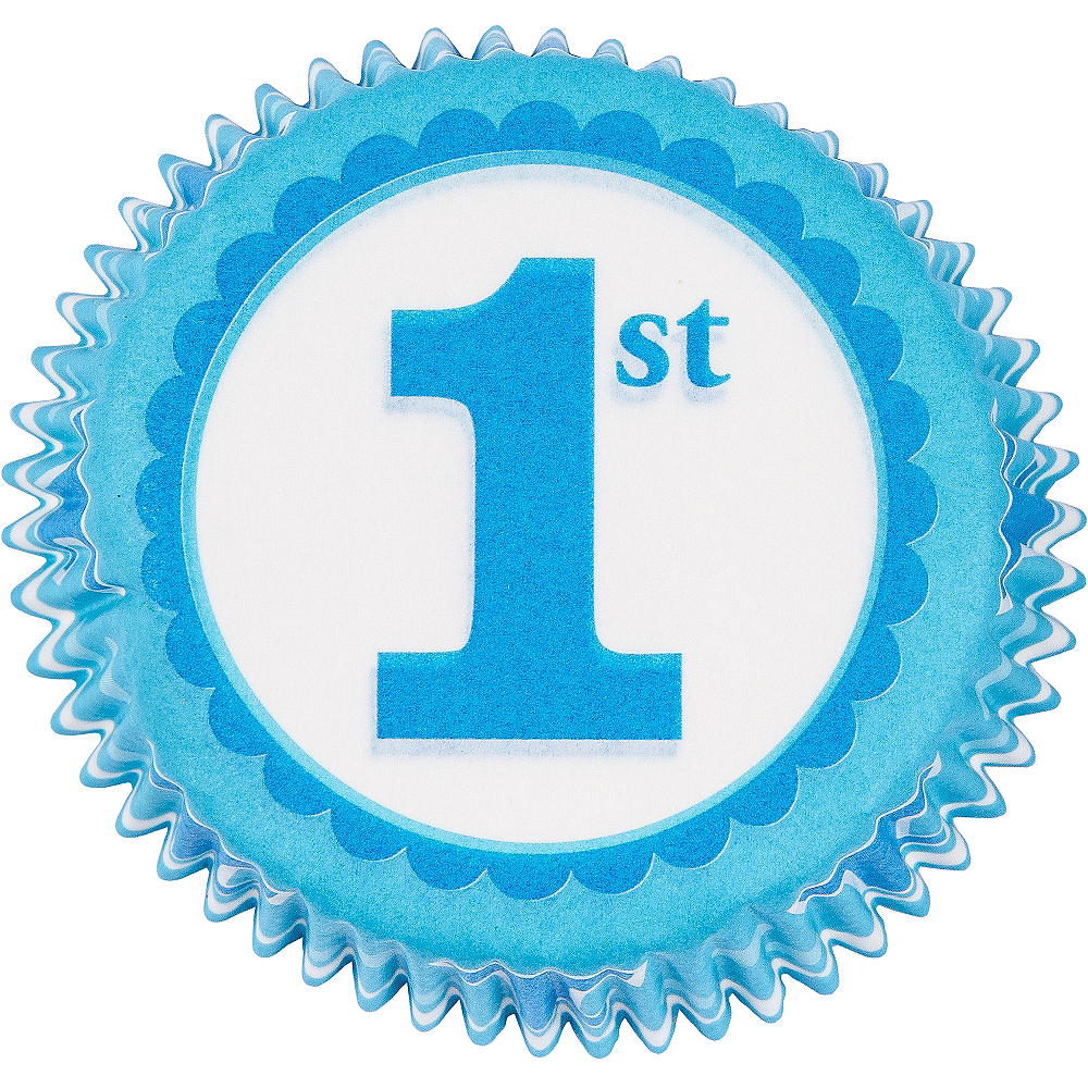 Blue 1st Birthday Baking Cups 75ct Image #2