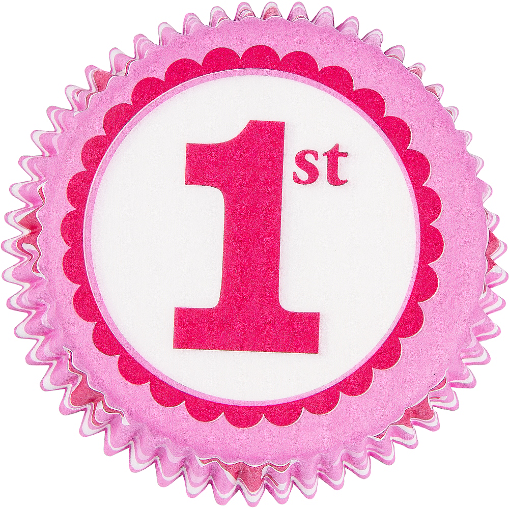 Pink 1st Birthday Baking Cups 75ct Image #2