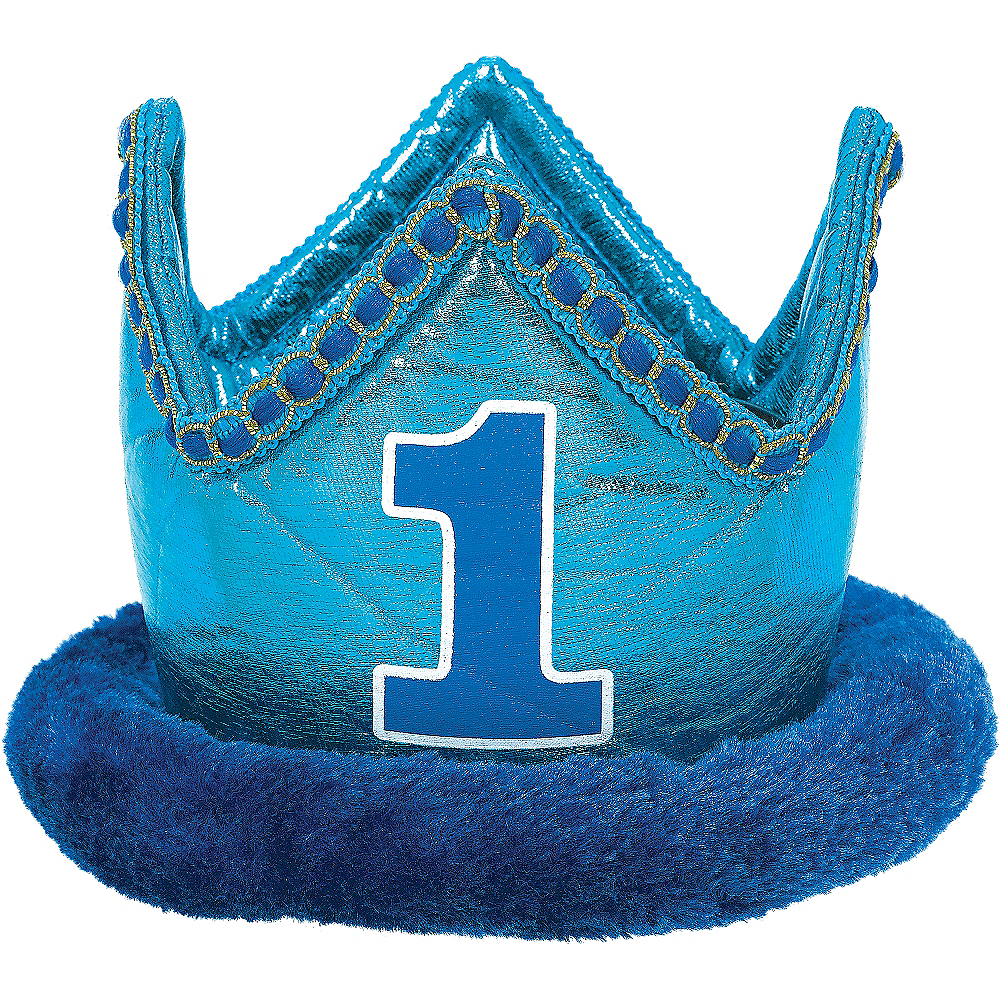 Small Blue 1st Birthday Plush Crown Image #1