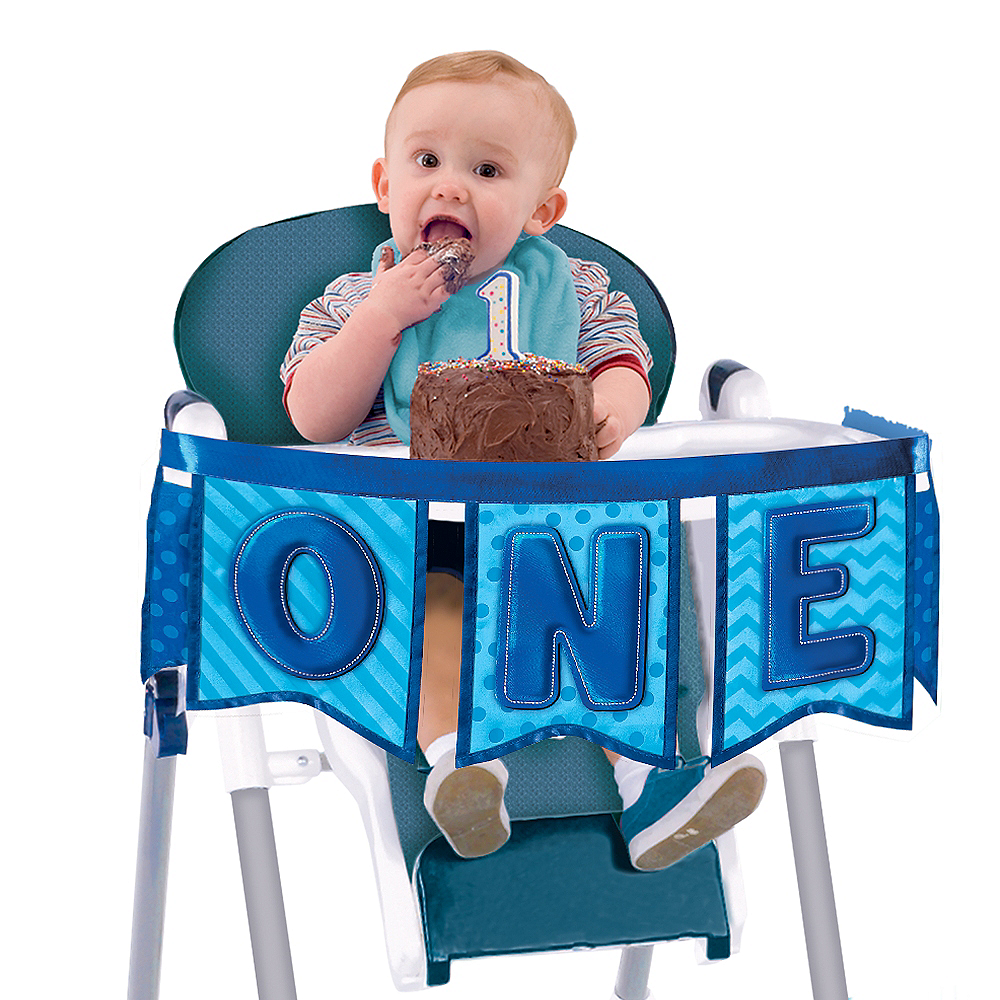 Deluxe Blue 1st Birthday High Chair Banner Image #1