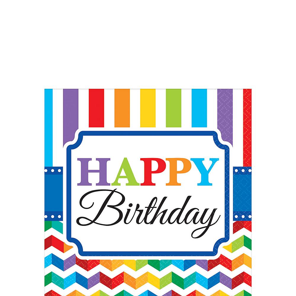 Rainbow Chevron Birthday Beverage Napkins 16ct Image #1