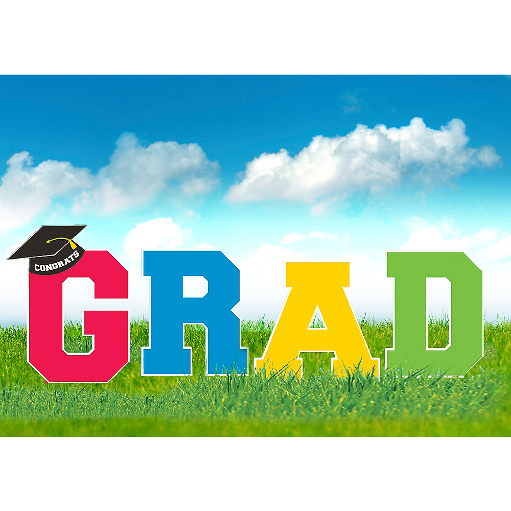 Multicolor Graduation Yard Signs 4ct Image #1