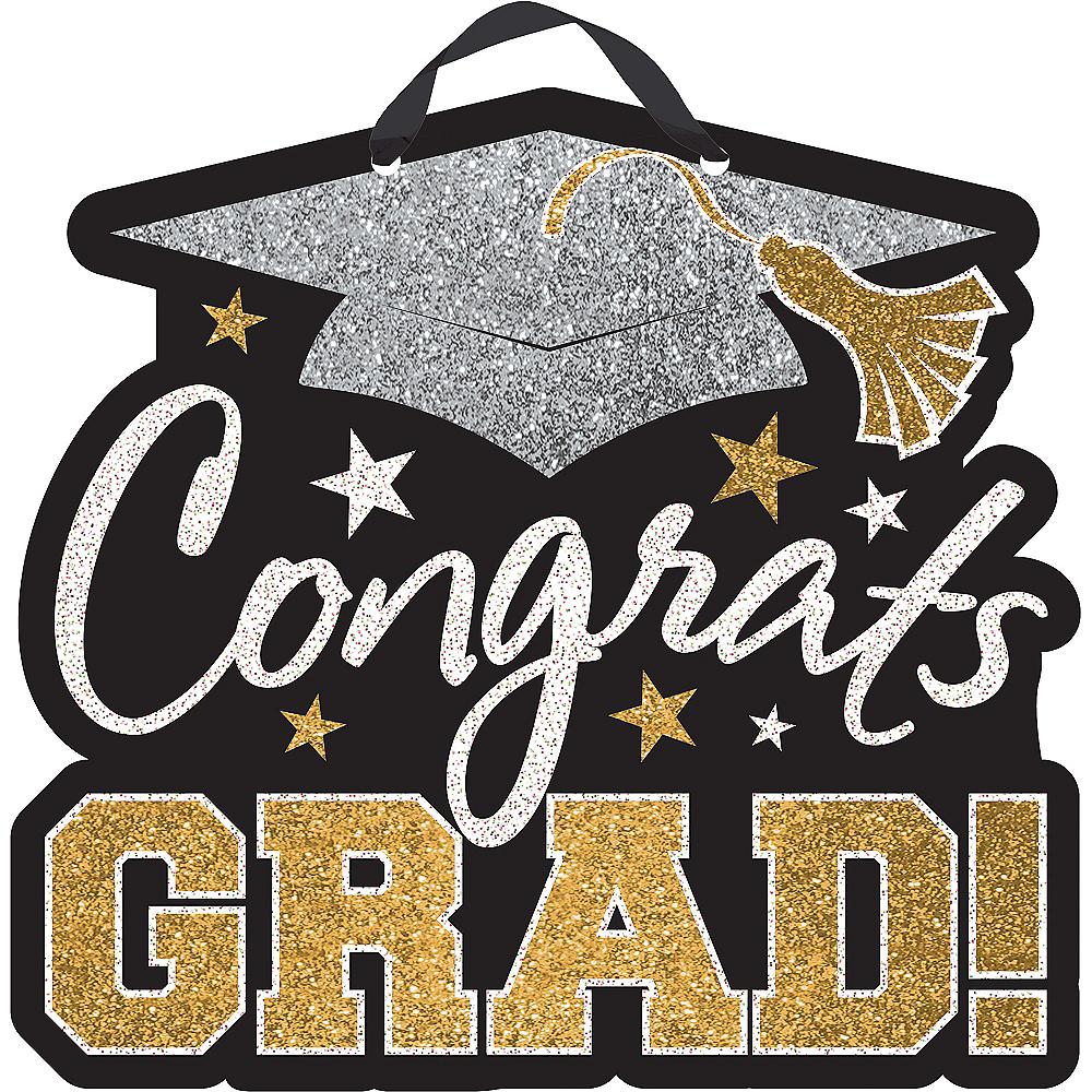 black gold silver glitter congrats grad graduation sign 10 3 4in