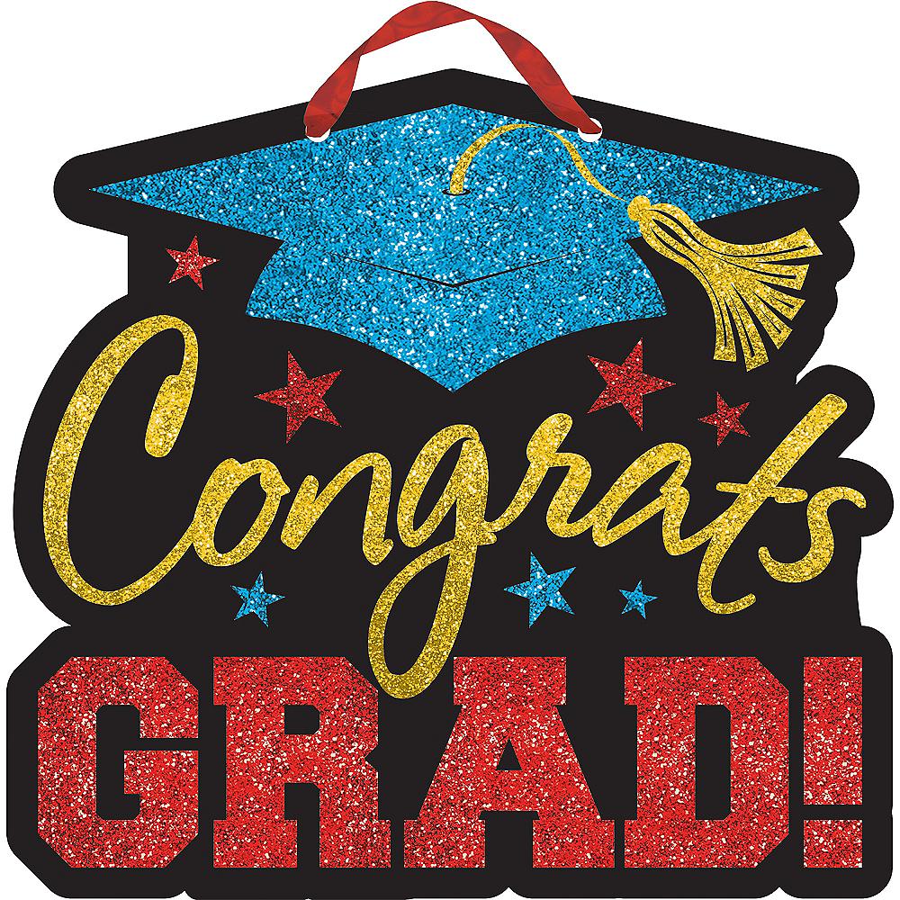 multicolor congrats grad graduation sign 10 3 4in x 11 1 2in party
