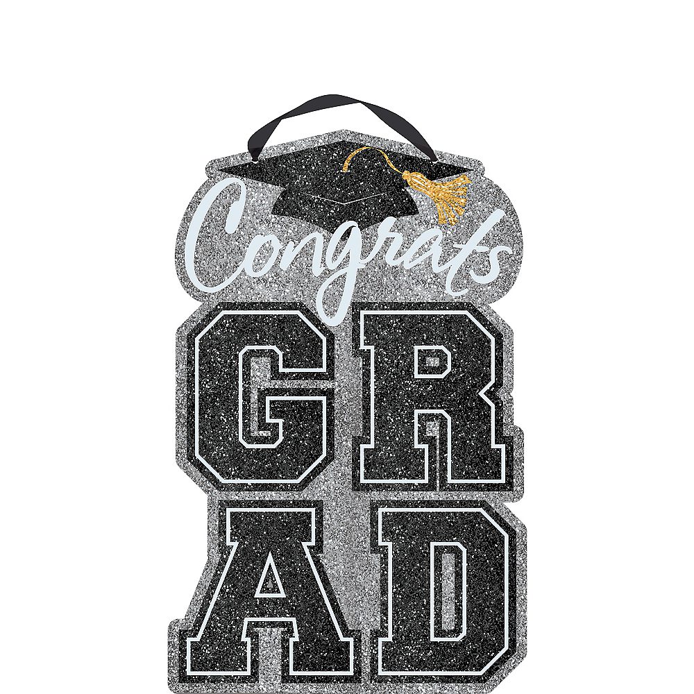Nav Item for Glitter Congrats Grad Graduation Sign Image #1