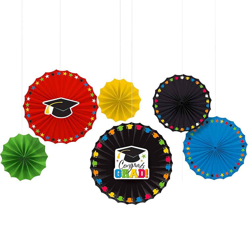 Congrats Grad Paper Fan Decorations 6ct Image #1